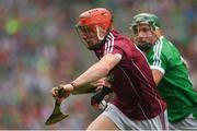 19 August 2018; Conor Whelan of Galway in action against Seán Finn of Limerick during the GAA Hurling All-Ireland Senior Championship Final match between Galway and Limerick at Croke Park in Dublin.  Photo by Piaras Ó Mídheach/Sportsfile