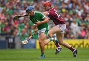 19 August 2018; Mike Casey of Limerick in action against Jonathan Glynn of Galway during the GAA Hurling All-Ireland Senior Championship Final match between Galway and Limerick at Croke Park in Dublin.  Photo by Piaras Ó Mídheach/Sportsfile