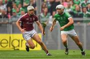 19 August 2018; Aaron Gillane of Limerick in action against Daithí Burke of Galway during the GAA Hurling All-Ireland Senior Championship Final match between Galway and Limerick at Croke Park in Dublin.  Photo by Piaras Ó Mídheach/Sportsfile