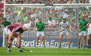 19 August 2018; Limerick players, from left, Declan Hannon, Mike Casey, Nickie Quaid, and Dan Morrissey watch Joe Canning of Galway score a point from a free during the GAA Hurling All-Ireland Senior Championship Final match between Galway and Limerick at Croke Park in Dublin.  Photo by Piaras Ó Mídheach/Sportsfile