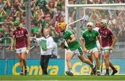 19 August 2018; Tom Morrissey of Limerick celebrates scoring his side's second goal during the GAA Hurling All-Ireland Senior Championship Final match between Galway and Limerick at Croke Park in Dublin.  Photo by Piaras Ó Mídheach/Sportsfile