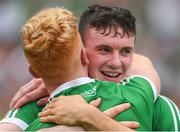 19 August 2018; Limerick players Declan Hannon, right, and Cian Lynch celebrate after the GAA Hurling All-Ireland Senior Championship Final match between Galway and Limerick at Croke Park in Dublin.  Photo by Piaras Ó Mídheach/Sportsfile