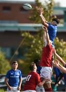 22 August 2018; Jack Barry of Leinster takes the ball in the lineout against Jonathan Fish of Munster during the U18 Schools Interprovincial match between Leinster and Munster at the University of Limerick in Limerick. Photo by Matt Browne/Sportsfile