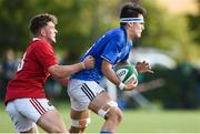 22 August 2018; Jack Barry of Leinster is tackled by Harry O'Riordan of Munster during the U18 Schools Interprovincial match between Leinster and Munster at the University of Limerick in Limerick. Photo by Matt Browne/Sportsfile