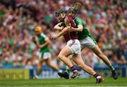 19 August 2018; Aidan Harte of Galway in action against Graeme Mulcahy of Limerick during the GAA Hurling All-Ireland Senior Championship Final match between Galway and Limerick at Croke Park in Dublin.  Photo by Piaras Ó Mídheach/Sportsfile