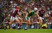 19 August 2018; Kyle Hayes of Limerick in action against Galway players Conor Whelan, front, and David Burke during the GAA Hurling All-Ireland Senior Championship Final match between Galway and Limerick at Croke Park in Dublin.  Photo by Piaras Ó Mídheach/Sportsfile