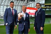 "23 August 2018; Niall Quinn, Keith Andrews, Brian Kerr, Graeme Souness and Kevin Kilbane have been announced on the expert commentary team for Virgin Media Sport, the new home of European football in Ireland. Launching on 18th September, viewers can expect exclusive, award winning Irish analysis and commentary on every single match in the upcoming UEFA Champions League and Europa League - the most watched competitive club football in the world. Virgin Media Sport will be available to all Virgin Media TV customers at no extra cost."" Pictured at the launch are, from left, Niall Quinn, Graeme Souness and Kevin Kilbane. Photo by Brendan Moran/Sportsfile"