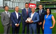 "23 August 2018; Niall Quinn, Keith Andrews, Brian Kerr, Graeme Souness and Kevin Kilbane have been announced on the expert commentary team for Virgin Media Sport, the new home of European football in Ireland. Launching on 18th September, viewers can expect exclusive, award winning Irish analysis and commentary on every single match in the upcoming UEFA Champions League and Europa League - the most watched competitive club football in the world. Virgin Media Sport will be available to all Virgin Media TV customers at no extra cost."" Pictured at the launch are, from left, Tommy Martin, Graeme Souness, Niall Quinn, Bill Malone, Director of Programming, Virgin Media Television, Kevin Kilbane and Niamh Kinsella. Photo by Brendan Moran/Sportsfile"