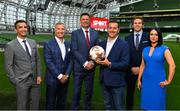 "23 August 2018; Niall Quinn, Keith Andrews, Brian Kerr, Graeme Souness and Kevin Kilbane have been announced on the expert commentary team for Virgin Media Sport, the new home of European football in Ireland. Launching on 18th September, viewers can expect exclusive, award winning Irish analysis and commentary on every single match in the upcoming UEFA Champions League and Europa League - the most watched competitive club football in the world. Virgin Media Sport will be available to all Virgin Media TV customers at no extra cost."" Pictured at the launch are, from left, Tommy Martin, Graeme Souness, Niall Quinn, Paul Farrell, Vice President of Commercial at Virgin Media, Kevin Kilbane and Niamh Kinsella. Photo by Brendan Moran/Sportsfile"