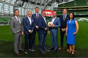 "23 August 2018; Niall Quinn, Keith Andrews, Brian Kerr, Graeme Souness and Kevin Kilbane have been announced on the expert commentary team for Virgin Media Sport, the new home of European football in Ireland. Launching on 18th September, viewers can expect exclusive, award winning Irish analysis and commentary on every single match in the upcoming UEFA Champions League and Europa League - the most watched competitive club football in the world. Virgin Media Sport will be available to all Virgin Media TV customers at no extra cost."" Pictured at the launch are, from left, Tommy Martin, Graeme Souness, Niall Quinn, Paul Farrell, Vice President of Commercial at Virgin Media, Bill Malone, Director of Programming, Virgin Media Television, Kevin Kilbane and Niamh Kinsella. Photo by Brendan Moran/Sportsfile"