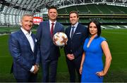 "23 August 2018; Niall Quinn, Keith Andrews, Brian Kerr, Graeme Souness and Kevin Kilbane have been announced on the expert commentary team for Virgin Media Sport, the new home of European football in Ireland. Launching on 18th September, viewers can expect exclusive, award winning Irish analysis and commentary on every single match in the upcoming UEFA Champions League and Europa League - the most watched competitive club football in the world. Virgin Media Sport will be available to all Virgin Media TV customers at no extra cost."" Pictured at the launch are, from left, Graeme Souness, Niall Quinn, Kevin Kilbane and Niamh Kinsella. Photo by Brendan Moran/Sportsfile"