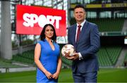 "23 August 2018; Niall Quinn, Keith Andrews, Brian Kerr, Graeme Souness and Kevin Kilbane have been announced on the expert commentary team for Virgin Media Sport, the new home of European football in Ireland. Launching on 18th September, viewers can expect exclusive, award winning Irish analysis and commentary on every single match in the upcoming UEFA Champions League and Europa League - the most watched competitive club football in the world. Virgin Media Sport will be available to all Virgin Media TV customers at no extra cost."" Pictured at the launch are, from left, Niamh Kinsella and Niall Quinn. Photo by Brendan Moran/Sportsfile"