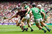 19 August 2018; Pádraic Mannion of Galway in action against Limerick players, from left, Graeme Mulcahy, Darragh O'Donovan and Kyle Hayes during the GAA Hurling All-Ireland Senior Championship Final match between Galway and Limerick at Croke Park in Dublin.  Photo by Piaras Ó Mídheach/Sportsfile