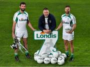 23 August 2018; GAA stars Joe McMahon of Tyrone, left, Johnny Magee, manager of Kilmacud Crokes, and former Dublin player, and Chris Barrett of Mayo, right, pictured at the launch of this year's Londis 7s, the All-Ireland Senior Football Sevens, which takes place on the 1st September 2018 at Kilmacud Crokes GAA Club, in Glenalbyn Road, Stillorgan, Co Dublin.  Photo by Seb Daly/Sportsfile