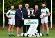 23 August 2018; GAA stars Joe McMahon of Tyrone, left, Johnny Magee, manager of Kilmacud Crokes, second left, and former Dublin player, and Chris Barrett of Mayo, right, are pictured with Sean Fox, Chairman of Kilmacud Crokes, and Conor Hayes, Londis Sales Director, at the launch of this year's Londis 7s, the All-Ireland Senior Football Sevens, which takes place on the 1st September 2018 at Kilmacud Crokes GAA Club, in Glenalbyn Road, Stillorgan, Co Dublin.  Photo by Seb Daly/Sportsfile