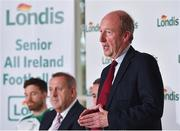 23 August 2018; Minister for Transport, Tourism and Sport, Shane Ross T.D. speaking at the launch of this year's Londis 7s, the All-Ireland Senior Football Sevens, which takes place on the 1st September 2018 at Kilmacud Crokes GAA Club, in Glenalbyn Road, Stillorgan, Co Dublin.  Photo by Seb Daly/Sportsfile