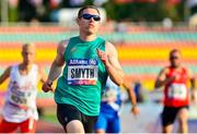23 August 2018; Jason Smyth of Ireland crosses the finish line to win the T13 100m Finals event during the 2018 World Para Athletics European Championships at Friedrich-Ludwig-Jahn-Sportpark in Berlin, Germany. Photo by Luc Percival/Sportsfile