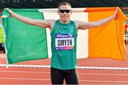 23 August 2018; Jason Smyth of Ireland celebrates after his European Championship title win in the T13 100m Finals event during the 2018 World Para Athletics European Championships at Friedrich-Ludwig-Jahn-Sportpark in Berlin, Germany. Photo by Luc Percival/Sportsfile