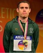 23 August 2018; Jason Smyth of Ireland receives his Gold Medal for winning the T13 100m event during the 2018 World Para Athletics European Championships at Friedrich-Ludwig-Jahn-Sportpark in Berlin, Germany. Photo by Luc Percival/Sportsfile