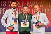 23 August 2018; Medallists from left, silver medallist Mateusz Michalski of Poland, gold medallist Jason Smyth of Ireland and bronze medallist Jakub Nicpon of Poland receiving their medals for the T13 100m event during the 2018 World Para Athletics European Championships at Friedrich-Ludwig-Jahn-Sportpark in Berlin, Germany. Photo by Luc Percival/Sportsfile
