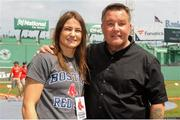 23 August 2018; WBA & IBF World Lightweight Champion Katie Taylor with Ken Casey of Murphy's Boxing on a visit to Fenway Park ahead of the Major League Baseball regular season game between Boston Red Sox and Cleveland Indians at Fenway Park in Boston, USA. Photo by Emily Harney/Matchroom Boxing USA via Sportsfile