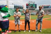 23 August 2018; Boxers, from left, Mark de Luca, WBA & IBF World Lightweight Champion Katie Taylor and Demetrius Andrade on a visit to Fenway Park ahead of the Major League Baseball regular season game between Boston Red Sox and Cleveland Indians at Fenway Park in Boston, USA. Photo by Emily Harney/Matchroom Boxing USA via Sportsfile