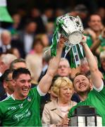 19 August 2018; Seán Finn, left, and Paul Browne of Limerick lift the Liam MacCarthy Cup following the GAA Hurling All-Ireland Senior Championship Final match between Galway and Limerick at Croke Park in Dublin.  Photo by Seb Daly/Sportsfile