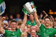 19 August 2018; Tom Morrissey, left, and Dan Morrissey of Limerick lift the Liam MacCarthy Cup following the GAA Hurling All-Ireland Senior Championship Final match between Galway and Limerick at Croke Park in Dublin.  Photo by Seb Daly/Sportsfile