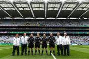 12 August 2018; Referee Paddy Neilan and officials before the Electric Ireland GAA Football All-Ireland Minor Championship semi-final match between Kerry and Monaghan at Croke Park in Dublin. Photo by Piaras Ó Mídheach/Sportsfile