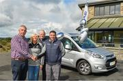 24 August 2018; KN Group's Vanessa Cunningham, All-Ireland GAA Golf Challenge organisers Liam Daniels and Nicholas Murphy presenting Michael O'Connell, father of Ian, with his specially-modified vehicle for his son Ian, who was paralysed from the neck down following a bicyle injury in Killarney in August 2017. This was during day one of the 20th annual KN Group All-Ireland GAA Golf Club Challenge at Concra Wood Golf Club, in Castleblayney, Co. Monaghan. Photo by Oliver McVeigh/Sportsfile