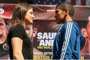 24 August 2018; WBA & IBF World Lightweight Champion Katie Taylor, left, and Cindy Serrano square off at Quincy Market, in Boston, USA, ahead of their bout on October 20 at TD Garden in Boston. Photo by Ed Mulholland/Matchroom Boxing USA via Sportsfile