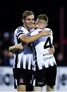 24 August 2018; Georgie Kelly of Dundalk, left, is congratulated by team-mate Seán Hoare after scoring his side's second goal during the Irish Daily Mail FAI Cup Second Round match between Dundalk and Finn Harps at Oriel Park, in Dundalk, Co Louth. Photo by Seb Daly/Sportsfile