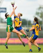 25 August 2018; Laura Fleming of Roscommon in action against Shauna Ennis of Meath during the TG4 All-Ireland Ladies Football Intermediate Championship Semi-Final match between Meath and Roscommon at Dr Hyde Park in Roscommon. Photo by Eóin Noonan/Sportsfile