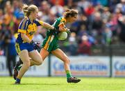 25 August 2018; Niamh O'Sullivan of Meath in action against Megan Kelly of Roscommon during the TG4 All-Ireland Ladies Football Intermediate Championship Semi-Final match between Meath and Roscommon at Dr Hyde Park in Roscommon. Photo by Piaras Ó Mídheach/Sportsfile