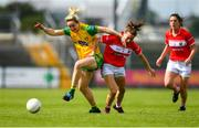 25 August 2018; Karen Guthrie of Donegal in action against Melissa Duggan of Cork during the TG4 All-Ireland Ladies Football Senior Championship Semi-Final match between Cork and Donegal at Dr Hyde Park in Roscommon. Photo by Eóin Noonan/Sportsfile