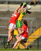25 August 2018; Ashling Hutchings of Cork in action against Geraldine McLaughlin of Donegal during the TG4 All-Ireland Ladies Football Senior Championship Semi-Final match between Cork and Donegal at Dr Hyde Park in Roscommon. Photo by Eóin Noonan/Sportsfile