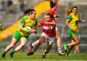 25 August 2018; Geraldine McLaughlin of Donegal in action against Melissa Duggan of Cork during the TG4 All-Ireland Ladies Football Senior Championship Semi-Final match between Cork and Donegal at Dr Hyde Park in Roscommon. Photo by Eóin Noonan/Sportsfile