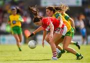 25 August 2018; Eimear Scally of Cork in action against Ciara Hegarty of Donegal during the TG4 All-Ireland Ladies Football Senior Championship Semi-Final match between Cork and Donegal at Dr Hyde Park in Roscommon. Photo by Piaras Ó Mídheach/Sportsfile