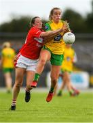 25 August 2018; Kate Keaney of Donegal in action against Áine O'Sullivan of Cork during the TG4 All-Ireland Ladies Football Senior Championship Semi-Final match between Cork and Donegal at Dr Hyde Park in Roscommon. Photo by Piaras Ó Mídheach/Sportsfile