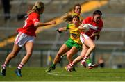 25 August 2018; Hannah Looney of Cork in action against Ciara Hegarty of Donegal during the TG4 All-Ireland Ladies Football Senior Championship Semi-Final match between Cork and Donegal at Dr Hyde Park in Roscommon. Photo by Eóin Noonan/Sportsfile