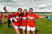 25 August 2018; Cork players, from left, Eimear Meaney, Ashling Hutchings, and Eimear Scally celebrate after the TG4 All-Ireland Ladies Football Senior Championship Semi-Final match between Cork and Donegal at Dr Hyde Park in Roscommon. Photo by Piaras Ó Mídheach/Sportsfile