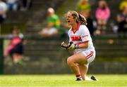 25 August 2018; Cork goalkeeper Martina O'Brien celebrates a second half goal scored by team-mate Saoirse Noonan during the TG4 All-Ireland Ladies Football Senior Championship Semi-Final match between Cork and Donegal at Dr Hyde Park in Roscommon. Photo by Piaras Ó Mídheach/Sportsfile