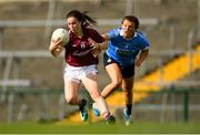 25 August 2018; Leanne Coen of Galway in action against Leah Caffrey of Dublin during the TG4 All-Ireland Ladies Football Senior Championship Semi-Final match between Dublin and Galway at Dr Hyde Park in Roscommon. Photo by Eóin Noonan/Sportsfile
