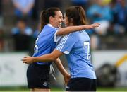 25 August 2018; Dublin players Siobhán McGrath, left, and Niamh Collins celebrate after the TG4 All-Ireland Ladies Football Senior Championship Semi-Final match between Dublin and Galway at Dr Hyde Park in Roscommon. Photo by Piaras Ó Mídheach/Sportsfile
