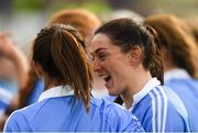 25 August 2018; Dublin players Sinéad Goldrick, right, and Siobhán McGrath celebrate after the TG4 All-Ireland Ladies Football Senior Championship Semi-Final match between Dublin and Galway at Dr Hyde Park in Roscommon. Photo by Piaras Ó Mídheach/Sportsfile