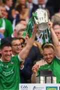 19 August 2018; Sean Finn, left, and Paul Browne lift the Liam Mac Carthy cup after the GAA Hurling All-Ireland Senior Championship Final match between Galway and Limerick at Croke Park in Dublin. Photo by Ray McManus/Sportsfile