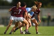 25 August 2018; Carla Rowe of Dublin in action against Galway players, from left, Emer Flaherty, Charlotte Cooney and Olivia Divilly during the TG4 All-Ireland Ladies Football Senior Championship Semi-Final match between Dublin and Galway at Dr Hyde Park in Roscommon. Photo by Piaras Ó Mídheach/Sportsfile