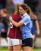 25 August 2018; Noëlle Healy of Dublin consoles Caitriona Cormican of Galway after the TG4 All-Ireland Ladies Football Senior Championship Semi-Final match between Dublin and Galway at Dr Hyde Park in Roscommon. Photo by Piaras Ó Mídheach/Sportsfile