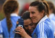 25 August 2018; Dublin footballers Siobhán McGrath, right, and Sinéad Goldrick celebrate after the TG4 All-Ireland Ladies Football Senior Championship Semi-Final match between Dublin and Galway at Dr Hyde Park in Roscommon. Photo by Piaras Ó Mídheach/Sportsfile