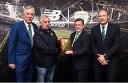 25 August 2018; FAI President Donal Conway presents a plack to Eamonn Mahon from Home Farm with FAI CEO John Delaney and Maurice Johnston President of the IFA Junior Committe at the President's Junior Cup Final match between North End United and Enniskillen Rangers at Home Farm FC in Whitehall, Dublin Photo by Matt Browne/Sportsfile